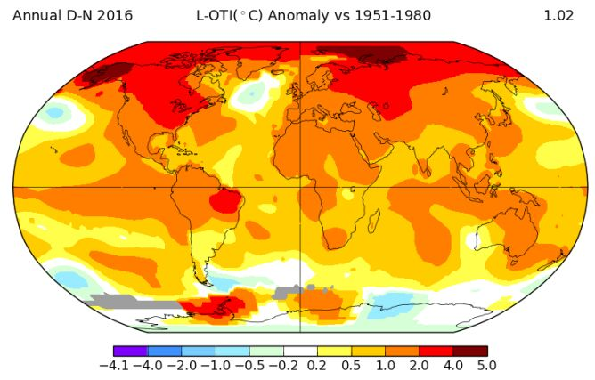 Anomalie temperatury w 2016 roku (do listopada)