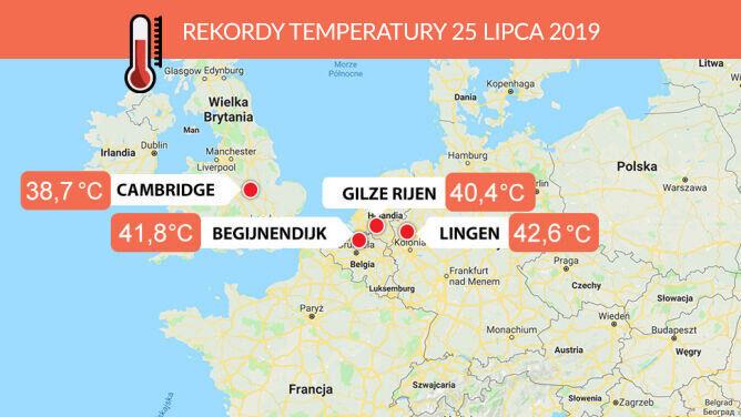 Miejsca, gdzie w czwartek 25 lipca padły rekordy temperatury (tvnmeteo.pl/Google Maps)