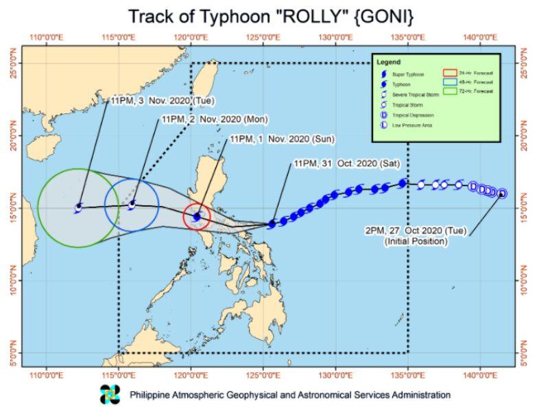Prognozowana trasa tajfunu Goni (PAGASA)